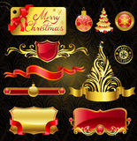 Christmas golden design elements. Christmas golden design elements and magnificent inscription Royalty Free Stock Image