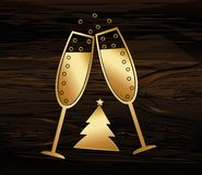 Christmas - golden figures in the form of glasses of champagne. Happy new year, winter. Vector. Greeting card for a holiday or invitation on a dark wooden Stock Images