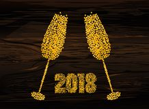 Christmas - golden figures in the form of glasses of champagne f. Rom confetti. Happy new year, winter. Vector. Greeting card for a holiday or invitation on a Stock Images