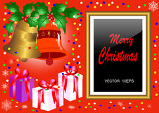 Christmas golden frame.  vector 10eps. Stock Photography