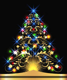 Christmas golden fur-tree. With colorful lights vector illustration