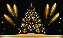 Christmas golden fur-tree with salute Royalty Free Stock Photo