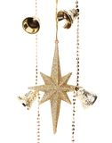 Christmas golden garland with stars and bells. Royalty Free Stock Image