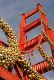 Christmas At the Golden Gate - Replica. Festive decor on Golden Gate Bridge Model Royalty Free Stock Images