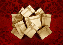 Christmas golden gifts boxes Stock Photography