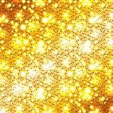 Christmas golden glitter background. Christmas golden background, holiday abstract glitter background with blinking stars, vector illustration Stock Photography