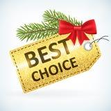 Christmas golden glitter best choice sale label Stock Photography