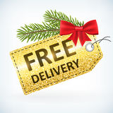 Christmas golden glitter free delivery label Stock Photography