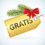 Christmas golden glitter gratis bussines sale label Stock Photos