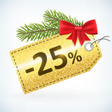 Christmas golden glitter 25 percent label. Christmas golden glitter price 25 percent sale  delivery  with bow nd twig . from background. layered Stock Photo