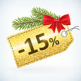 Christmas golden glitter 15 percent label. Christmas golden glitter price 15 percent sale  delivery  with bow nd twig .Isolated from background. layered Royalty Free Stock Photos