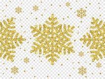 Christmas golden glitter snowflake decoration of gold shining sparkles on white transparent background. Vector glittering shine of. Sparkling snow flake star Stock Photo