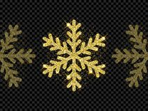 Christmas golden glittering snowflake decoration of gold glitter light shine on black transparent background. Vector sparkles glow Stock Photography