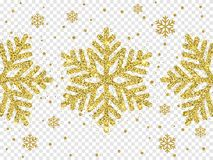 Christmas golden glittering snowflake decoration of gold glitter light shine. On black transparent background. Vector sparkles glow or snow flare flake star for Stock Image
