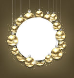 Christmas Golden Glowing Balls with Clean Card Royalty Free Stock Images