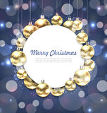 Christmas Golden Glowing Balls with Greeting Card Royalty Free Stock Photos