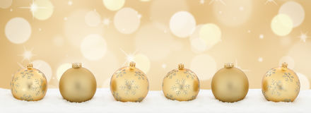Christmas golden gold balls banner decoration background copyspa Royalty Free Stock Photography