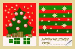 Christmas golden green red decorative motives on congratulations card royalty free stock image