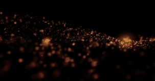 Christmas golden light shine particles blur bokeh loopable on black background, holiday congratulation greeting party happy stock video footage