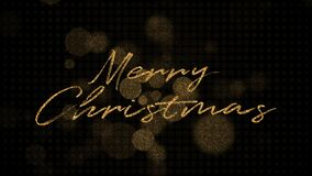 Christmas golden light sparkles and gold calligraphy lettering. 4K 3D Xmas holiday golden glitter light blurs on black.