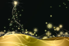 Christmas golden night. Royalty Free Stock Image