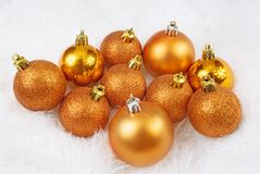 Christmas golden orange spheres Royalty Free Stock Images