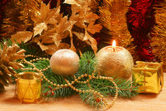 Christmas golden ornaments Royalty Free Stock Images