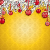 Christmas Golden Ornaments Baubles Twigs Royalty Free Stock Photography