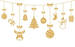 Christmas golden ornaments hanging. Merry Christmas background. Stock Image