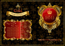 Christmas golden ornate frames 2011 Royalty Free Stock Images