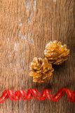 Christmas  Golden Pine Cones background Royalty Free Stock Photo