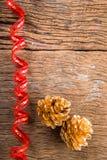 Christmas  Golden Pine Cones background Stock Photo