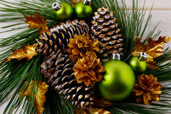Christmas golden pine cones decorated wreath Royalty Free Stock Images