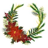 Christmas golden plant poinsettia  berries green red wine marsala burgundy hand painting for holiday party wreath circle round for
