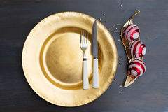 Christmas golden plate Stock Images