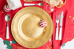 Christmas golden plate Royalty Free Stock Photography