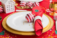 Christmas golden plate Stock Photography