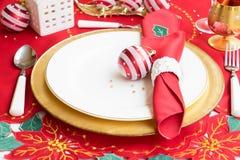 Christmas golden plate Stock Photos