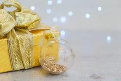 Christmas golden present box Stock Photography