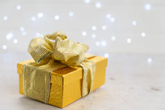 Christmas golden present box Stock Photo