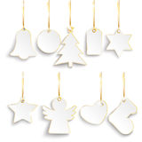 9 Christmas Golden Price Stickers Golden Ribbons. Golden hanging Christmas price stickers set on the white background Stock Photos