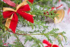 Christmas golden red bow decoration on tree Royalty Free Stock Photography