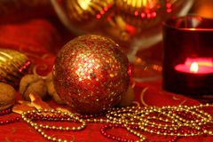 Christmas golden and red table decoration Stock Images