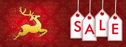 Christmas Golden Reindeer Discount Header Ornaments Price Stickers Sale. Christmas discount header with price stickers and golden reindeer on the red background stock illustration