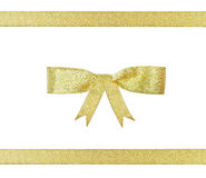 Christmas golden ribbon and bow Royalty Free Stock Photo