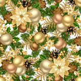 Christmas golden seamless background. Royalty Free Stock Images