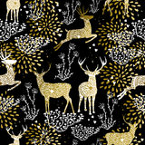 Christmas golden seamless pattern deer reindeer Royalty Free Stock Photos