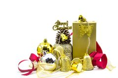 Christmas golden and silver decorations isolated on white background. gift box Royalty Free Stock Images