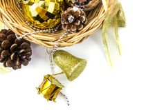 Christmas golden and silver decorations on white background. Basket weave on table top view stock photography