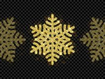 Christmas golden snowflake decoration of glittering sparkles shine with glare light effect on black transparent background. Vector Stock Photos